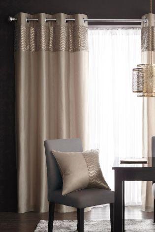 Mink metallic shimmer eyelet curtains master bedroom - Blackout curtains for master bedroom ...