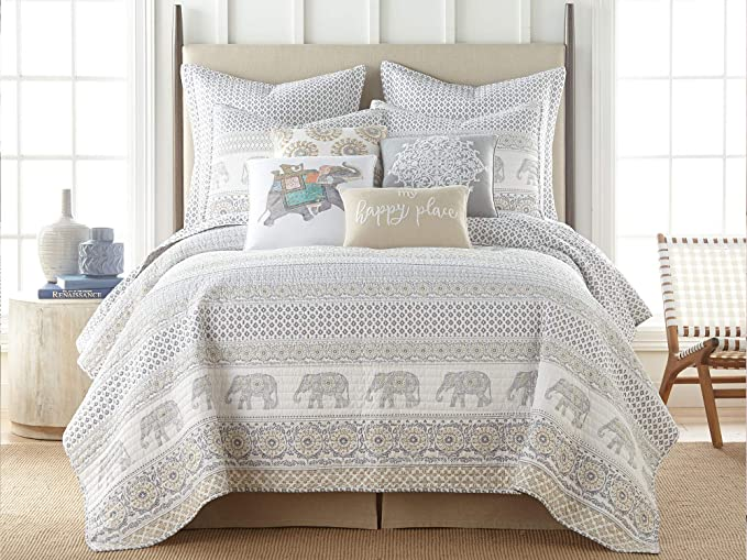 Amazon Com Levtex Home Nacala Quilt Set King Quilt Two King Pillow Shams Elephant Walk In Grey Taupe White In 2020 King Quilt Sets Quilt Sets Reversible Quilt
