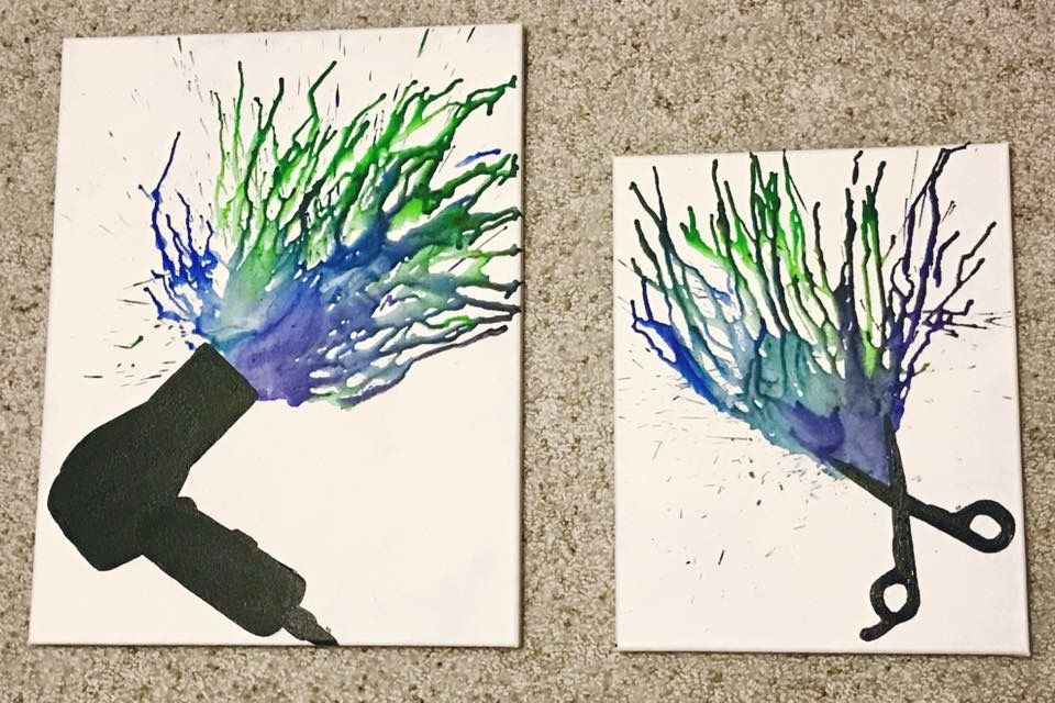 Diy Hair Salon Art Silhouette Painted On Canvas With Crayon