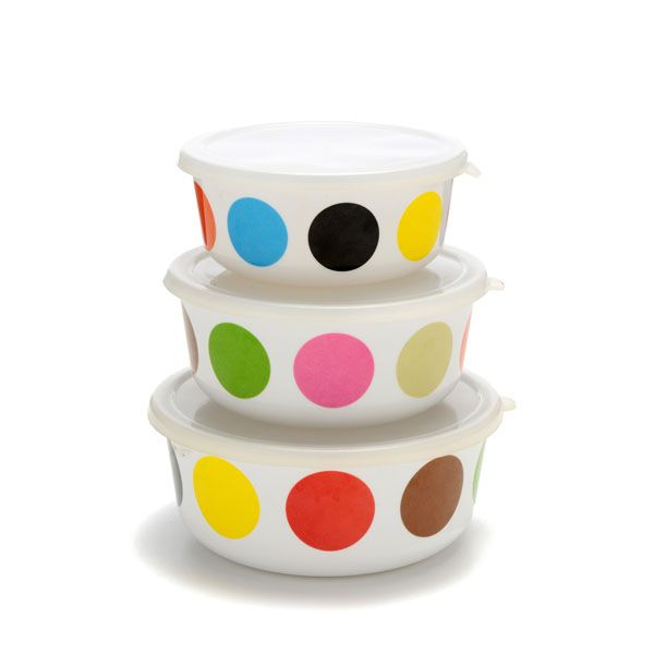 colorful storage containers // I <3 dots.