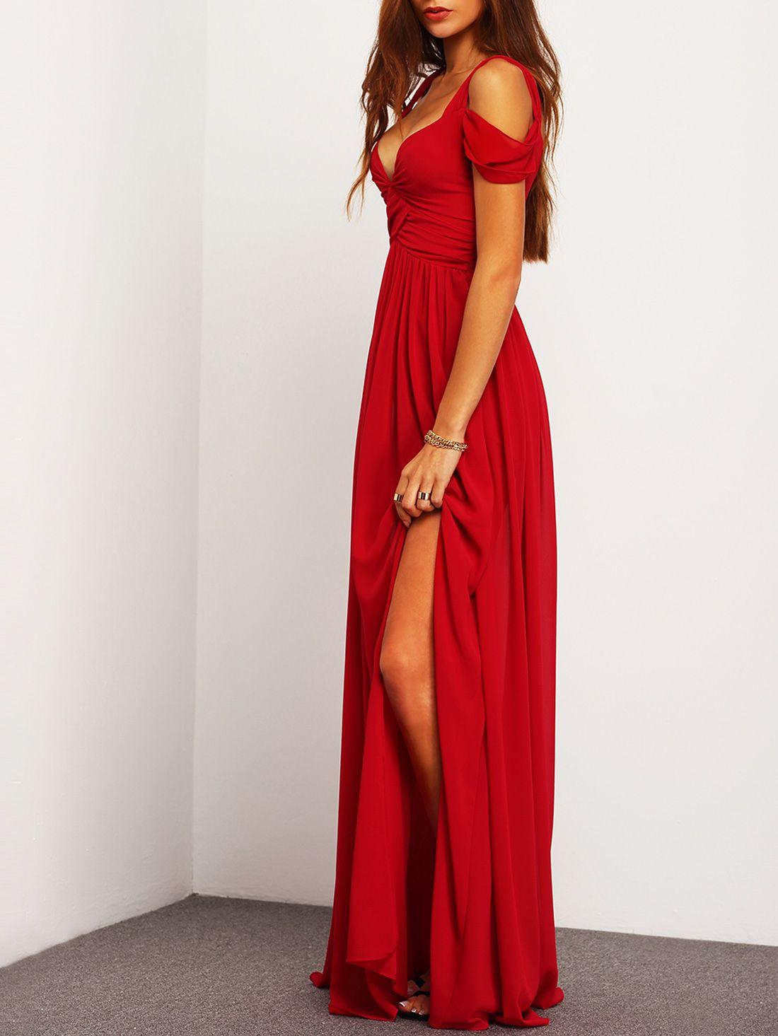 1efbf30283b Wine Red Off The Shoulder Maxi Dress -SheIn(Sheinside)