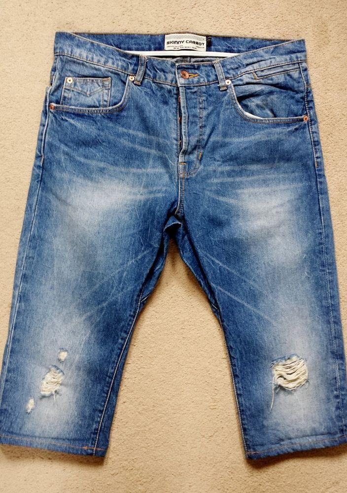 Topman Skinny Carrot Denim Long Shorts Size 34l Men S