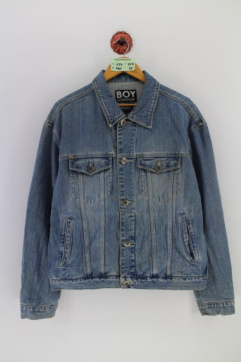 Vintage Boy London Trucker Denim Jeans Jacket Medium Britain Etsy Cotton Shirts For Men Boy London Streetwear Jeans [ 1191 x 794 Pixel ]