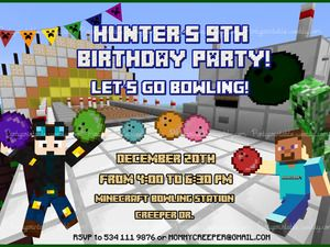 MINECRAFT BOWLING INVITATION MINECRAFT INVITATION BIRTHDAY MINECRAFT BIRTHDAY CARD Minecraft printable invitation http://partyprintable.weebly.com/  Minecraft printable decoration, Minecraft birthday party decoration, Minecraft gifts, Minecraft invitation, Minecraft, Minecraft creeper, Creeper decoration, Minecraft digital file, Minecraft free decoration, minecraft printables, minecraft food, minecraft stickers, creeper printables