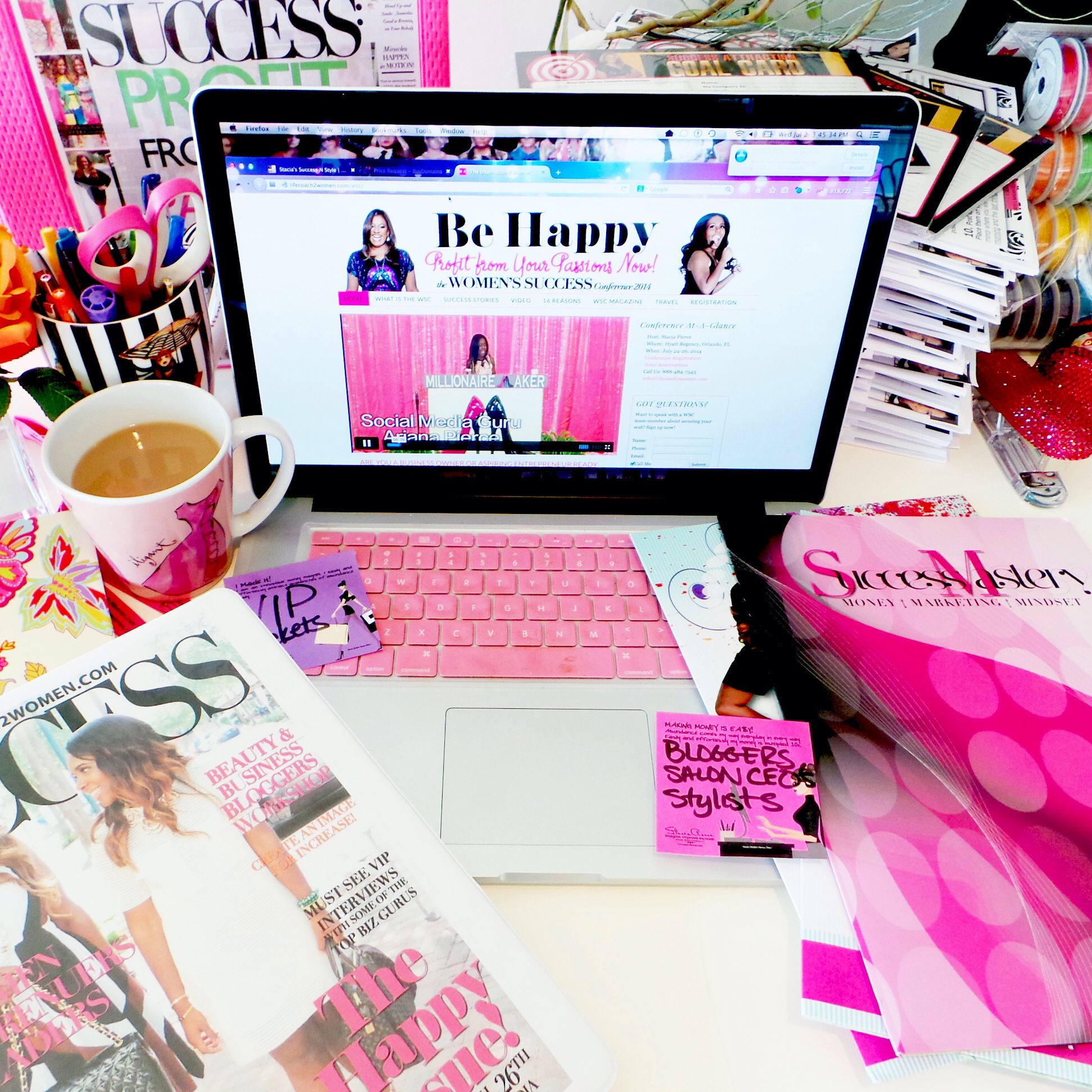 image media computer magazines office women table flat social desk bouquet photo with stock top clipboard s view lilies