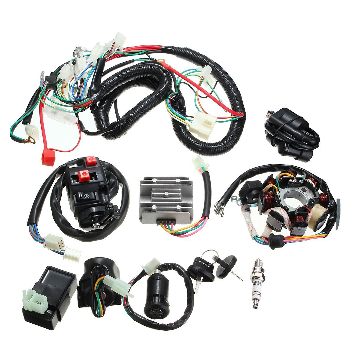 medium resolution of 1 set quad electric cdi coil wire harness stator assembly wiring set for 125 150 200 250cc push rod engine affiliate