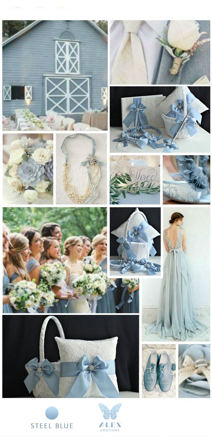 1e43cb84419 Steel Blue Wedding Accessories Set - Steel Blue Ring Bearer pillow - Steel  blue flower girl basket - steel blue garter set - steel blue guest book  with pen