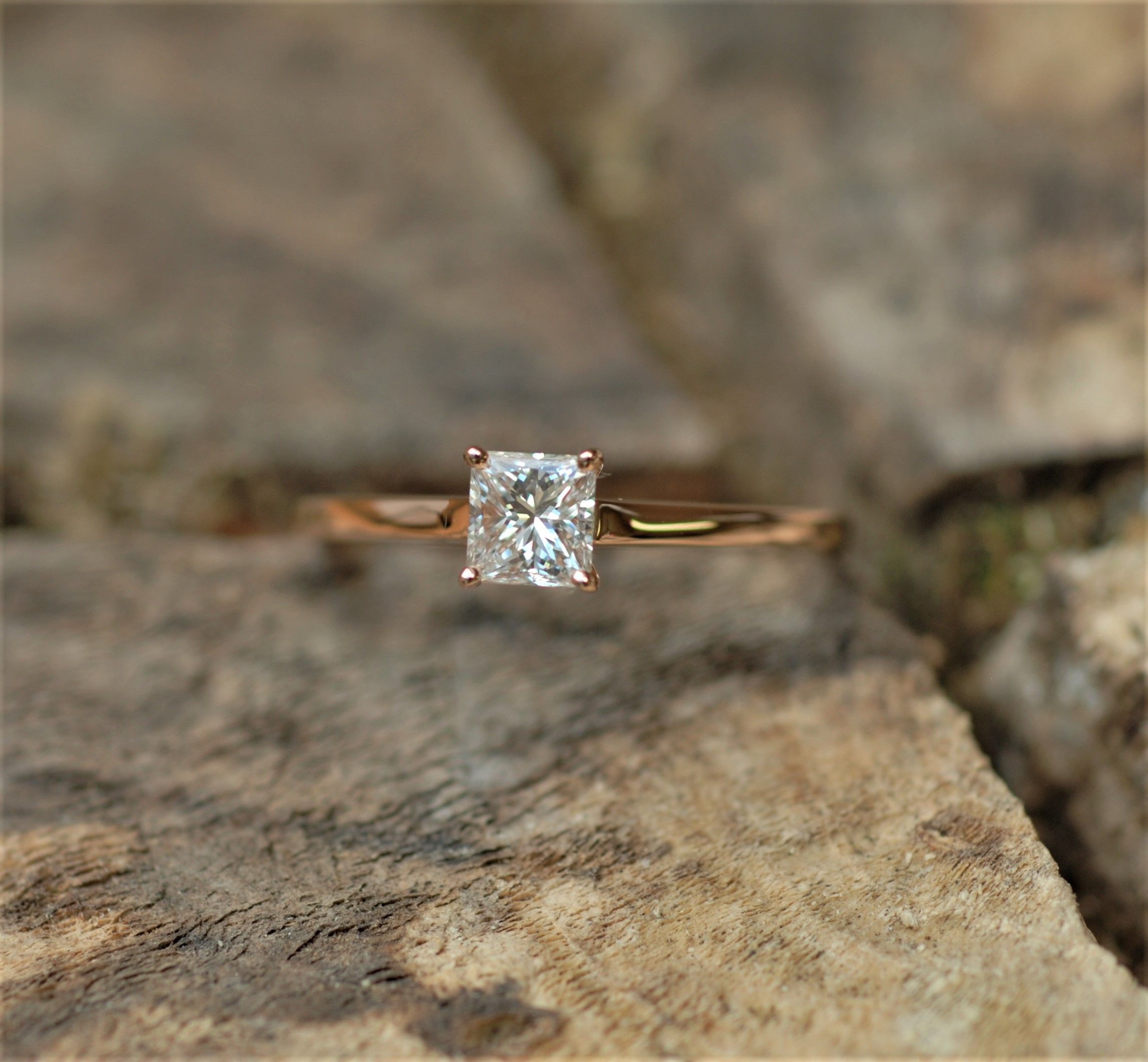 6016e5a5a0140 Classic Solitaire Princess cut diamond rose gold engagement ring ...
