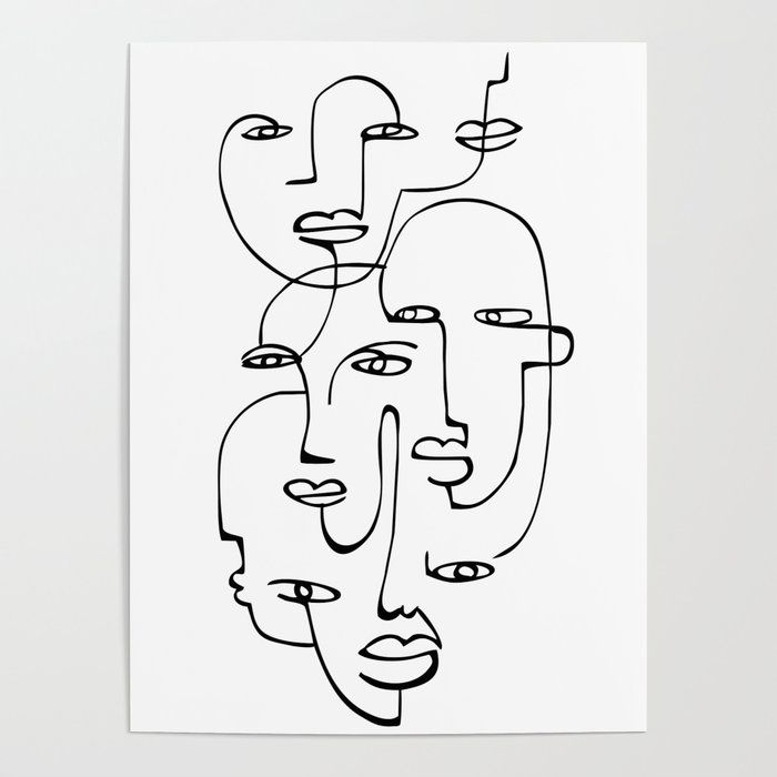 Abstract faces Poster by heartskippedabeat
