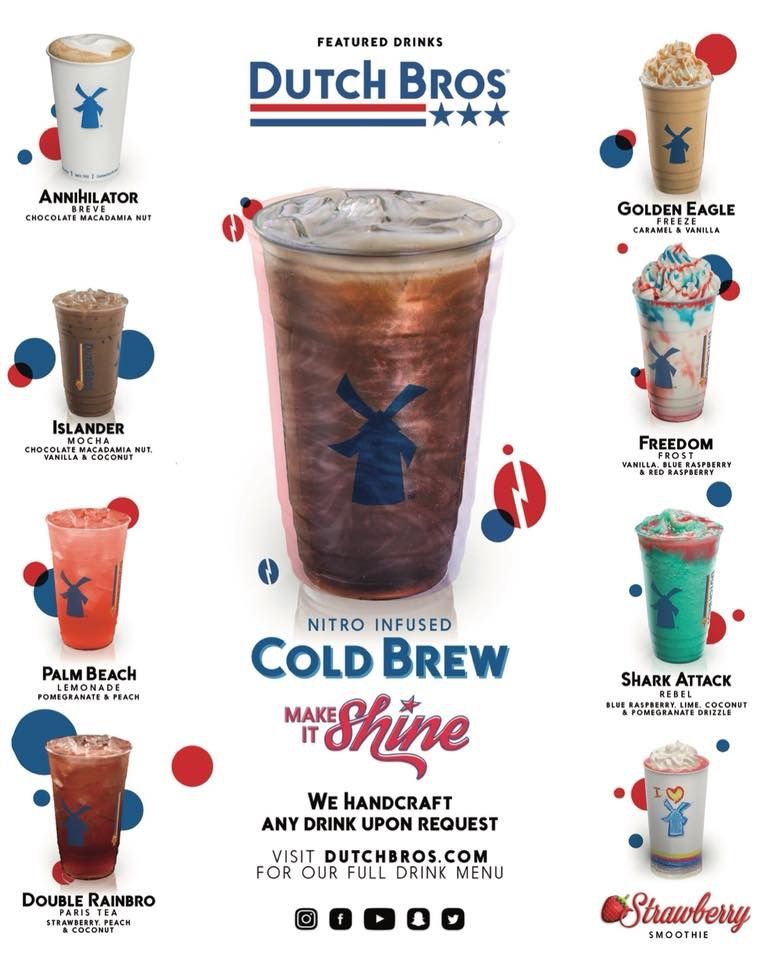 July Menu 2018 Dutch Bros Drinks Dutch Bros Secret Menu Dutch Bros Menu