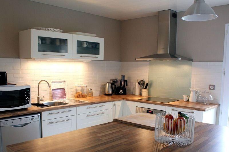 Cuisine IKEA bois et blanc Décor cuisine Pinterest - cuisine blanc laque plan travail bois