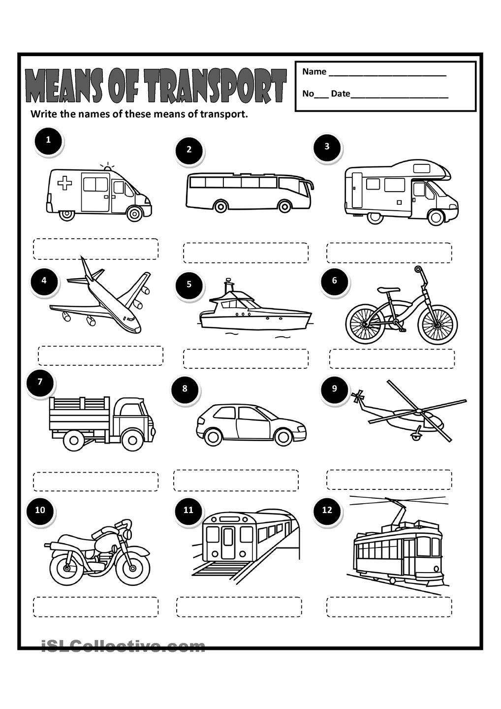 Workbooks teach english to spanish speakers worksheets : MEANS OF TRANSPORT | EDU | Pinterest | English, Worksheets and ...