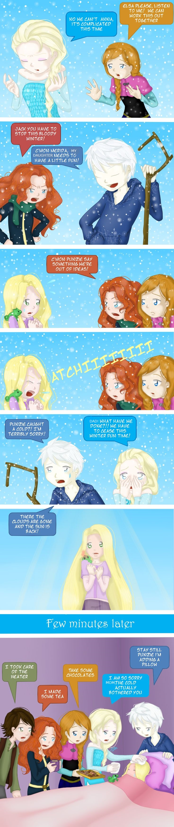 Frozen, Tangled, Rise of the Guardians (RotG), Brave and How To Train Your Dragon (HTTYD) crossover. Big four. Elsa, Anna, Merida, Jack, Rapunzel, Hiccup. Jackunzel family.