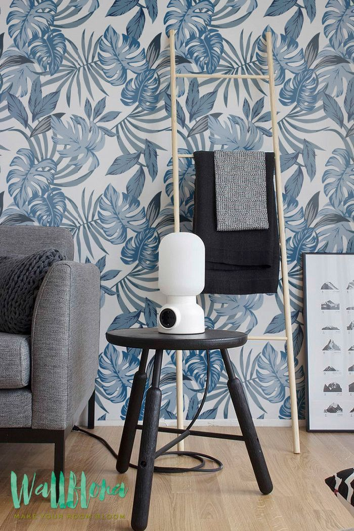Blue Palm Leaves Peel And Stick Wallpaper Leaf Wallpaper Removable Wallpaper Peel And Stick Wallpaper