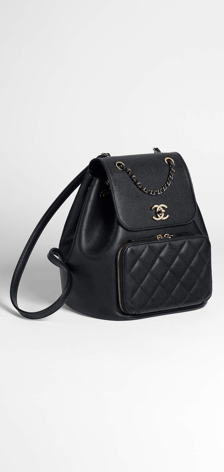 03aad4c8c2d86f Backpack, grained calfskin, calfskin & gold-tone metal-black - CHANEL