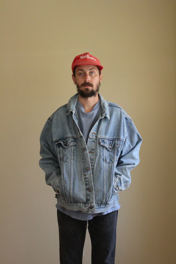 Levis Light Wash Oversized Denim Jacket Mens Large 90s Mens