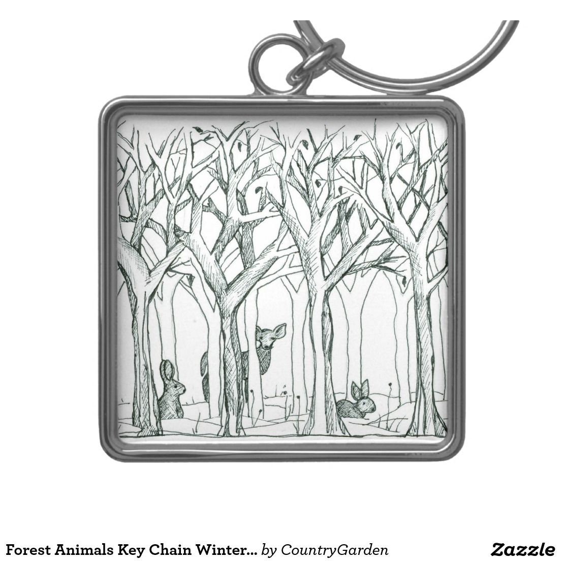 Forest Animals Key Chain Winter Trees Drawing