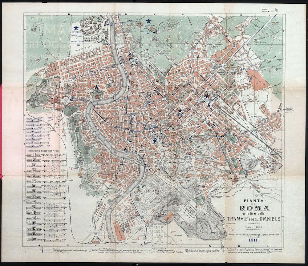 Nuovissima Pianta di Roma Genio Civile 1911 Roma