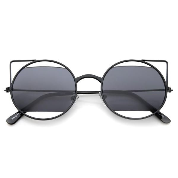 Women's Round Laser Cutout Cat Eye Sunglasses A350   Lunettes