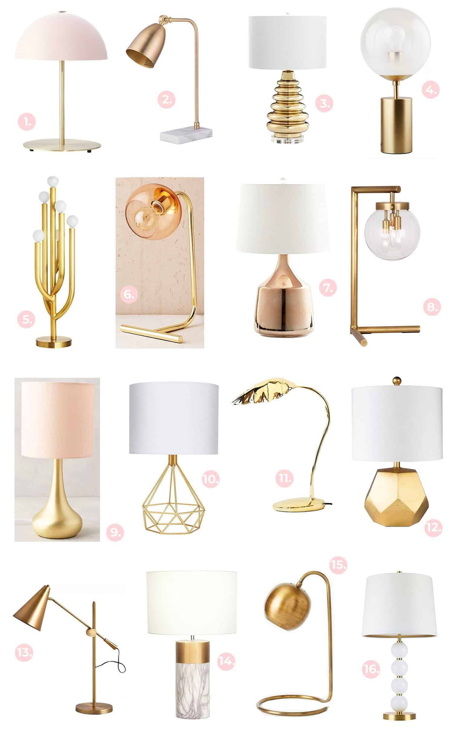 Gold Brass Light Fixture Shopping Guide A Beautiful Mess In 2020 Table Lamps Living Room Lamps Living Room Brass Table Lamps