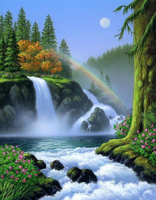 Waterfall Waterfall Paintings Waterfall Art Landscape Paintings