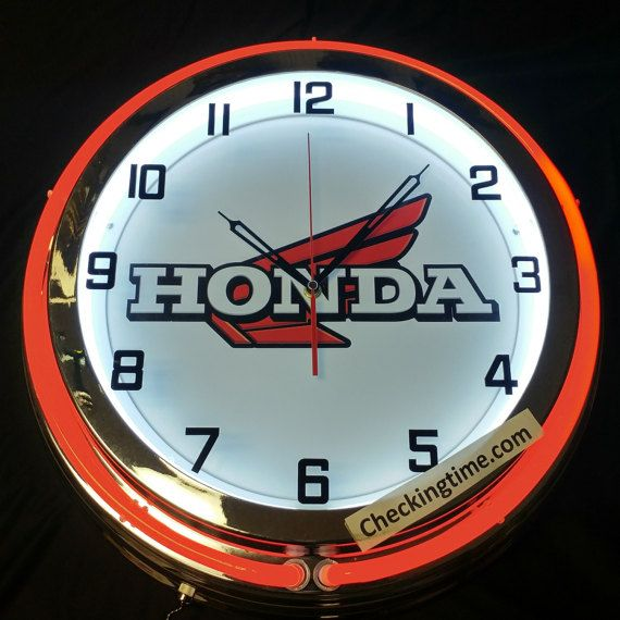 Honda Motorcycle 19 Retro Double Tube Neon By Checkingtimecom Neon Clock Peterbilt Clock