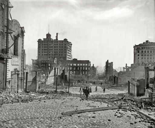 """""""Pine Street below Kearney."""" Aftermath of the great San Francisco earthquake and fire of April 18, 1906. 8x10 inch dry plate glass negative, via Shorpy."""