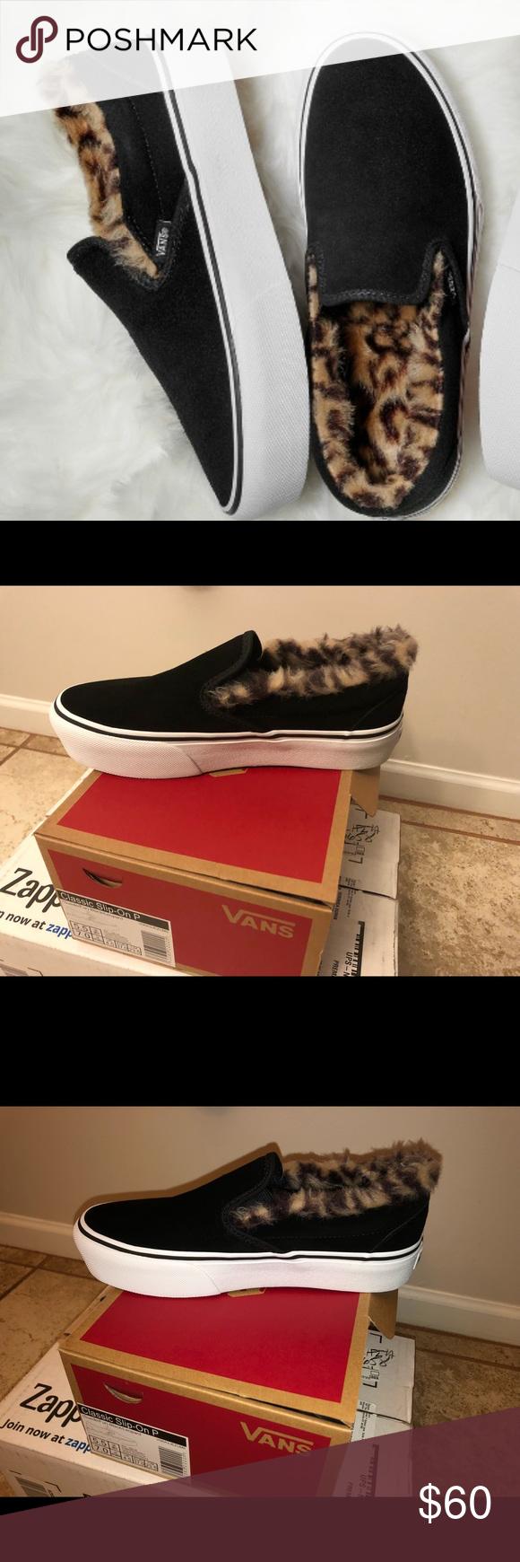 113c801d3ce4 Cheetah Vans Black platform vans with cheetah faux fur on the inside, brand  new! Vans Shoes Flats & Loafers