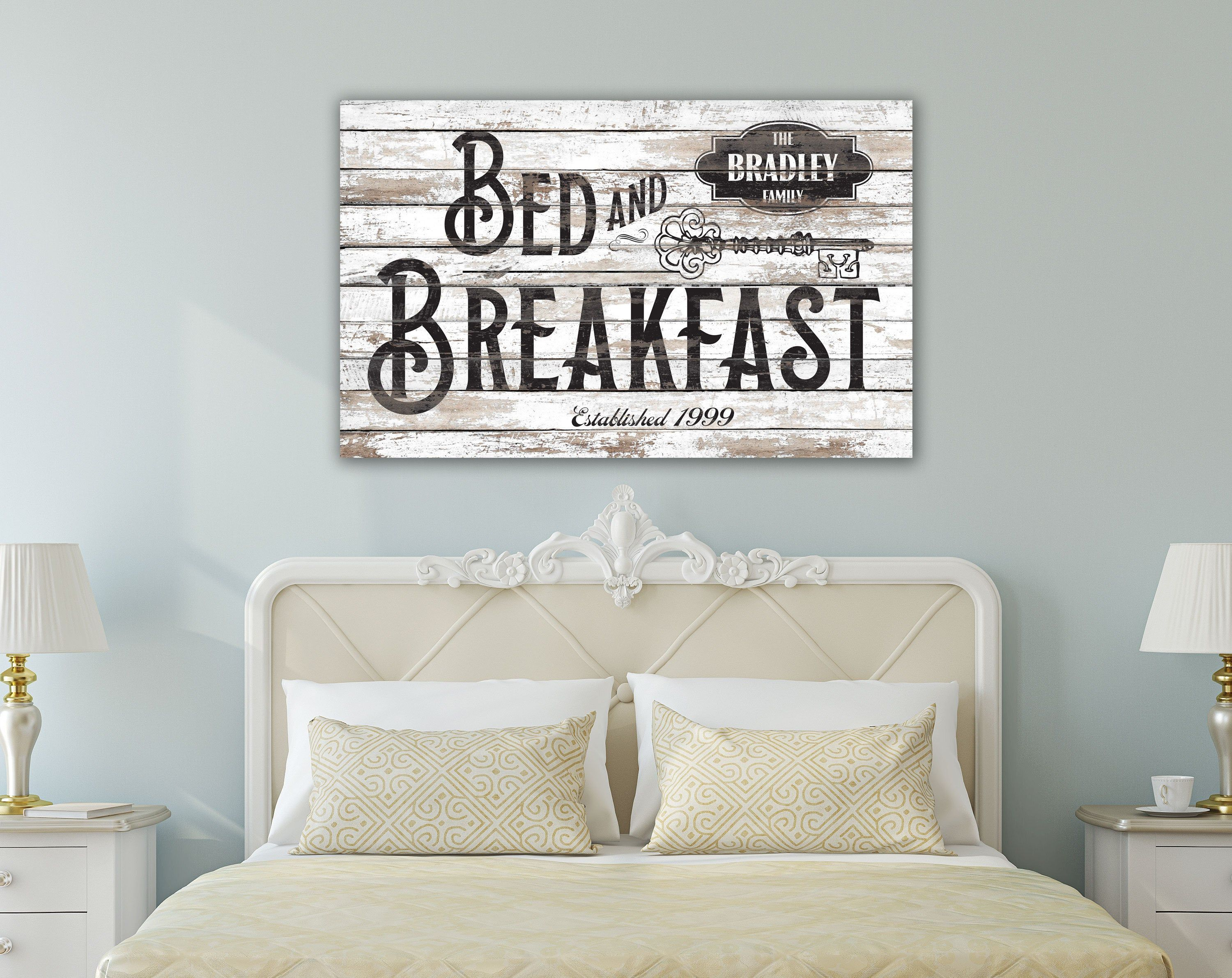 Bed And Breakfast Sign Vintage Farmhouse Wall Decor Personalized