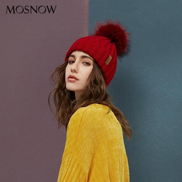 16888c6f9e9 Mosnow Brand Real Raccoon Fur Pom Poms Beanies Winter Hat Female For Women  Knitted Cotton Thick