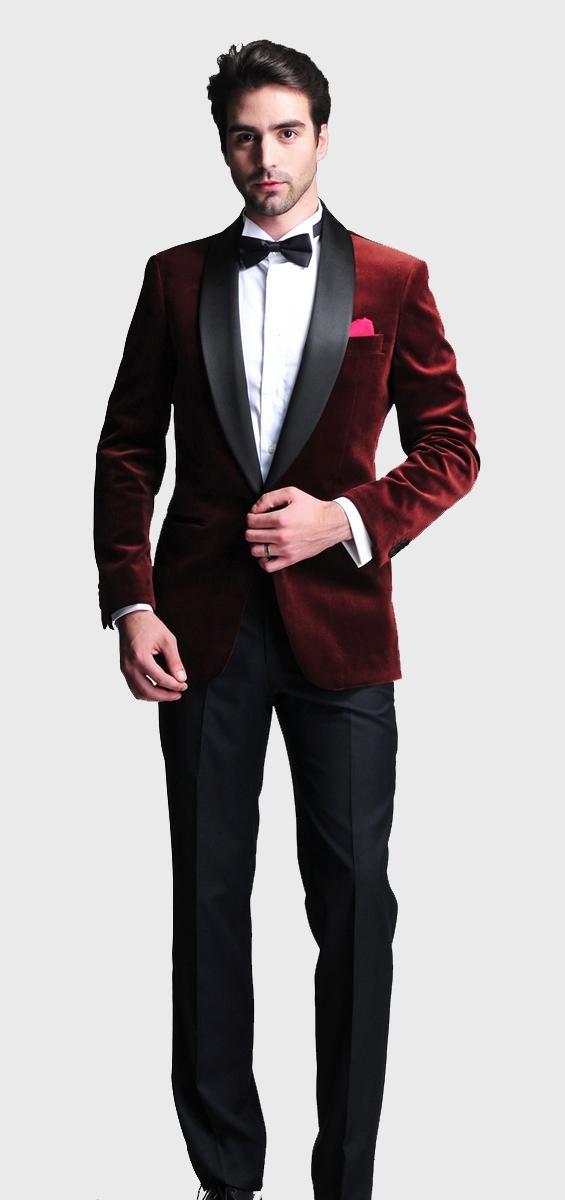 Burgundy Velvet Slim Fit 2015 Groom Tuxedos Wedding Suits Custom ...