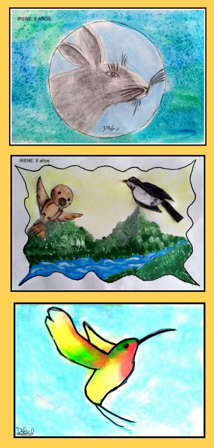 Dibujos Arboles Y Animales En Acuarela Y Pastel Hechos Por Ninos