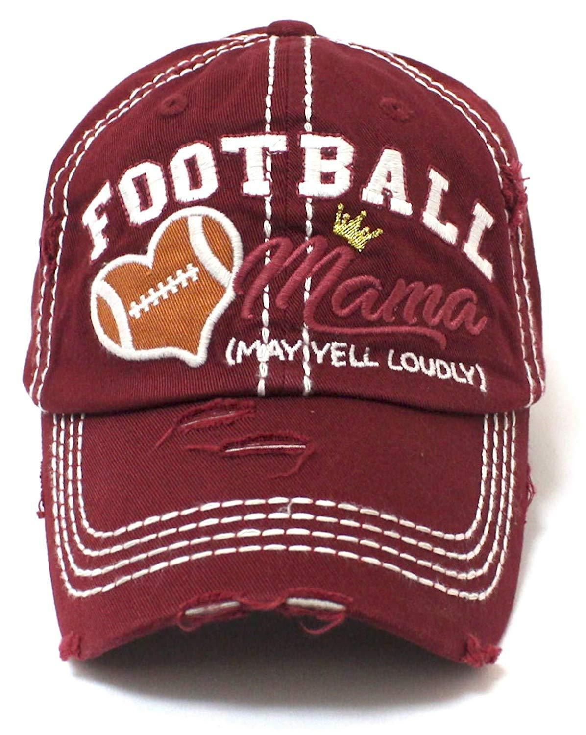 CAPS 'N VINTAGE Burgundy Football Mama Cheer Queen Hat #queenshats