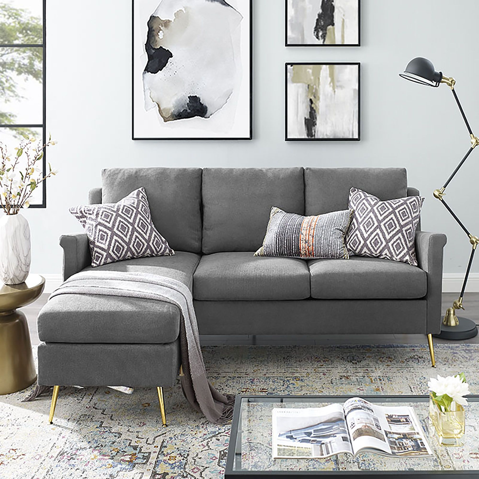 Apartment Sectional With Gold Legs Grey Walmart Com In 2020 Small Sectional Sofa Sofas For Small Spaces Apartment Sectional