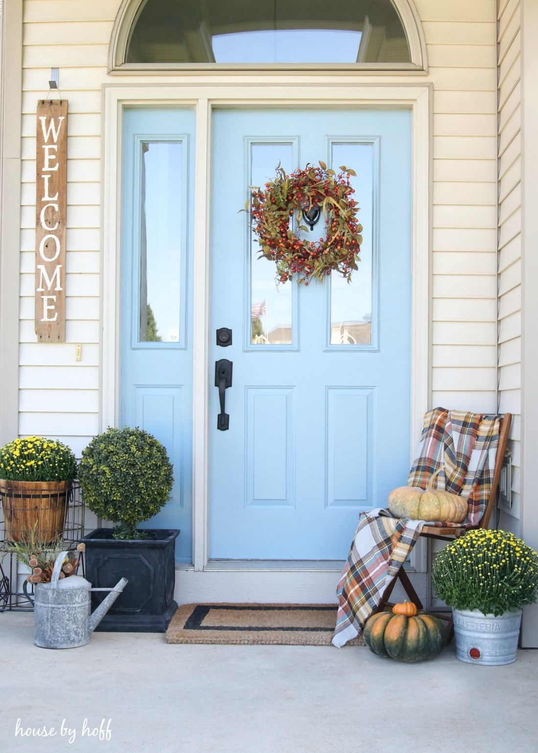 How To Decorate Your Small Front Porch For Fall Via House By Hoff Fall Front Porch Decor Fall Porch Beautiful Front Doors