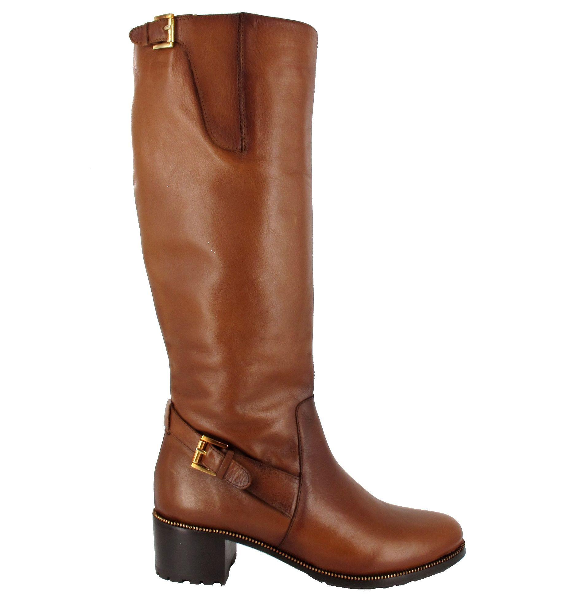 Bota tacón alto de piel BDA 6340 marrón nuez