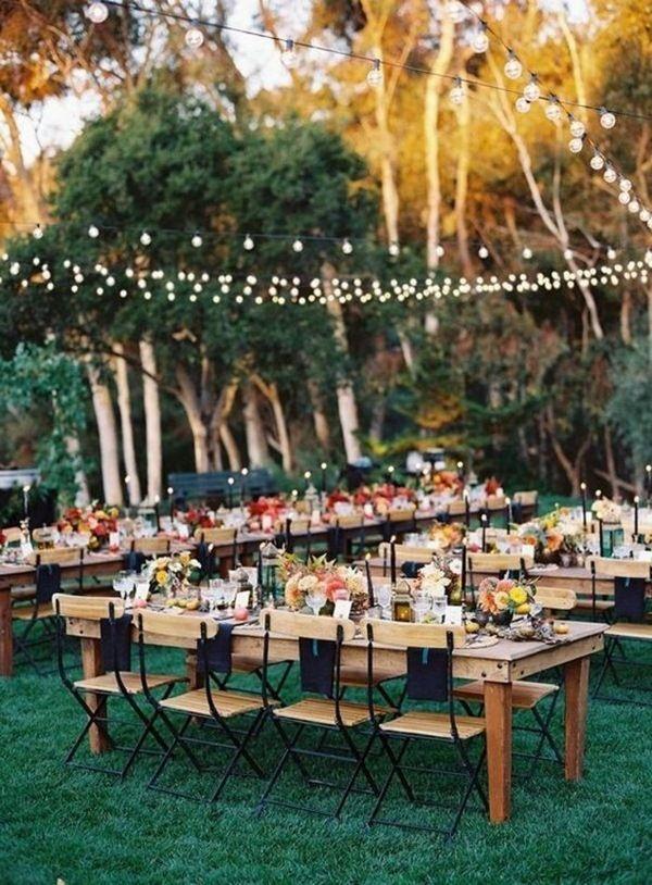 tischdeko garden party light chain elegant wedding celebration ...