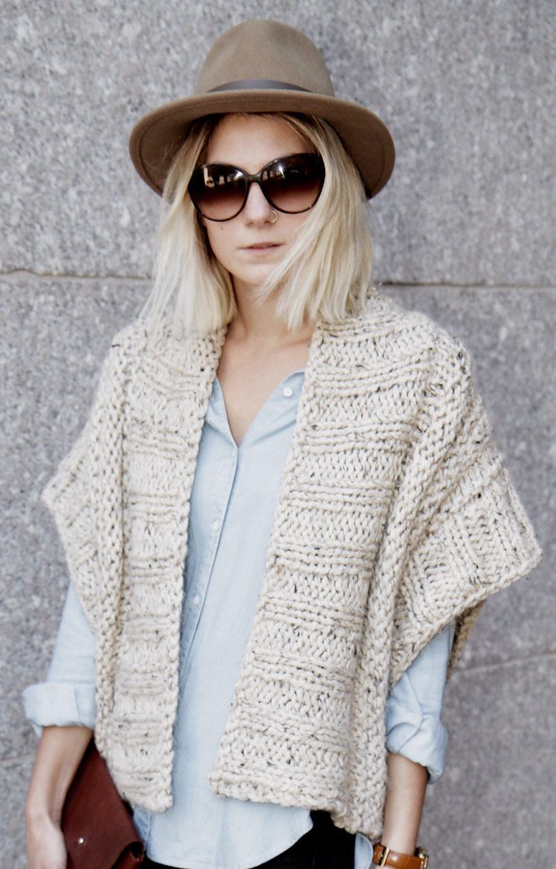 Knitting Pattern // Ribbed Chunky Cardigan Shrug Boho Topper // Mont ...