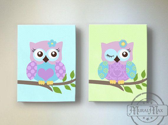 S Room Wall Art Owl Nursery Decor Canvas By Muralmax