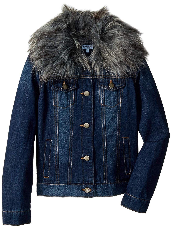 Girls Denim Jacket With Faux Fur Collar Medium Stone Cp18ca7taxx Girls Denim Jacket Denim Jacket Girls Denim [ 1500 x 1134 Pixel ]