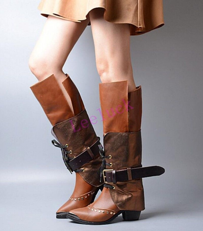 f6361bb21f4 Splice Womens Retro Buckle Chunky Heel Knee High Boots Leather Punk ...