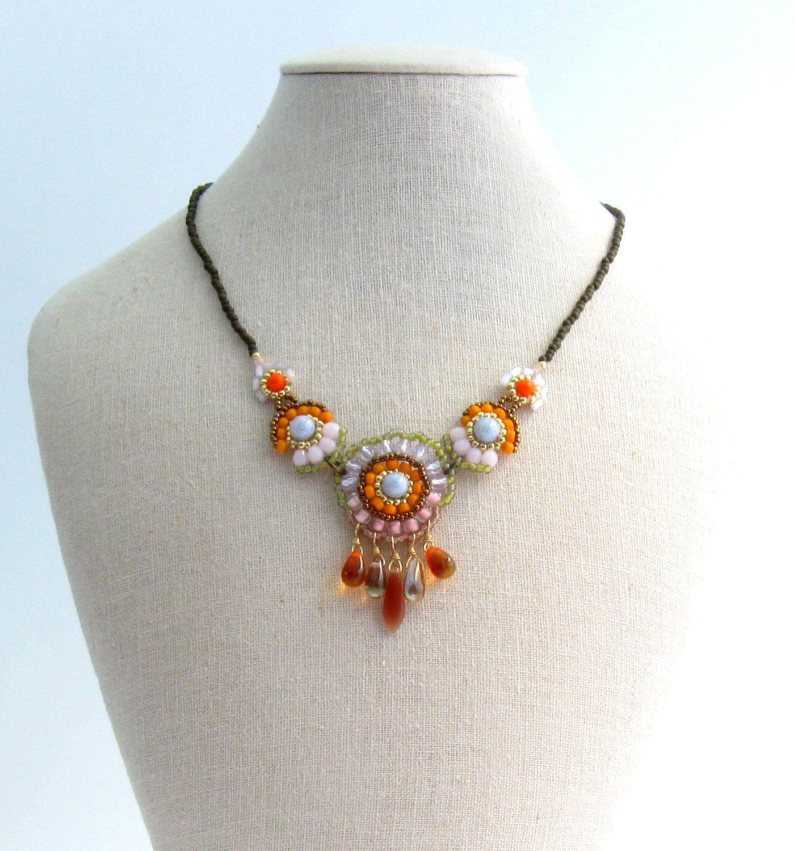Mandarino boho pastello beaded collana collana di di TamarKeny