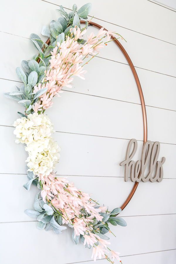 Photo of DIY $1 spring wreath from a Hula Hoop  DIY spring wreath from the $1 hula-hoop #…