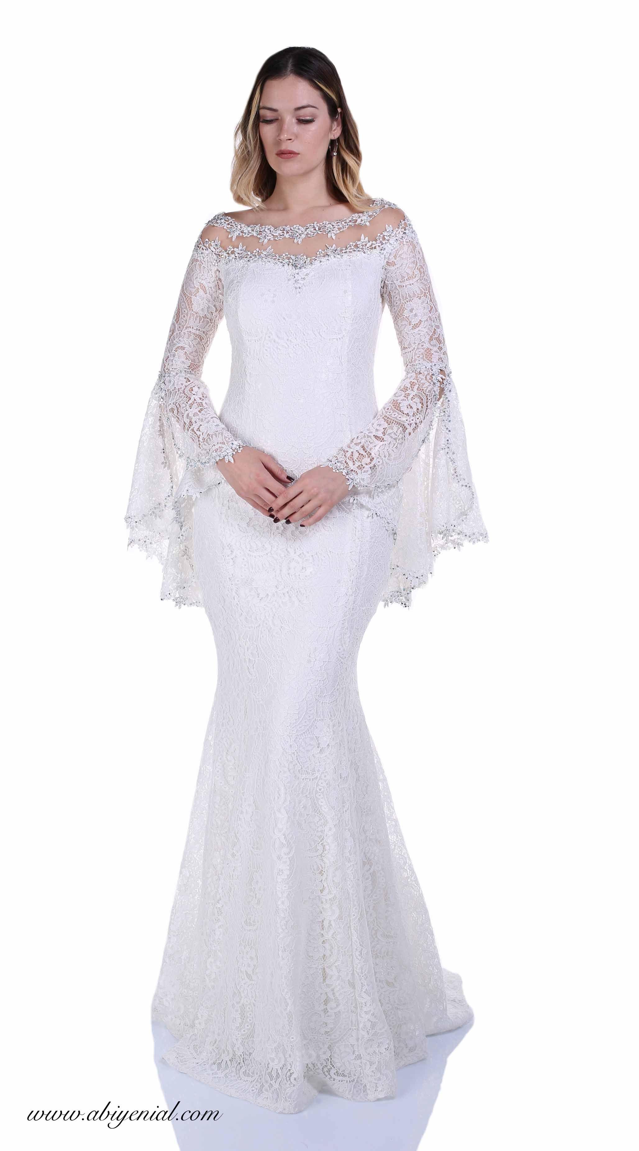 c62d435d1eedb Dantel Balık Abiye Elbise, Volan Kollu, Nikah Abiyesi #nikah #beyaz #sade