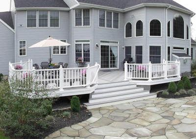 backyard deck with center stairs google search - Deck Stairs Design Ideas
