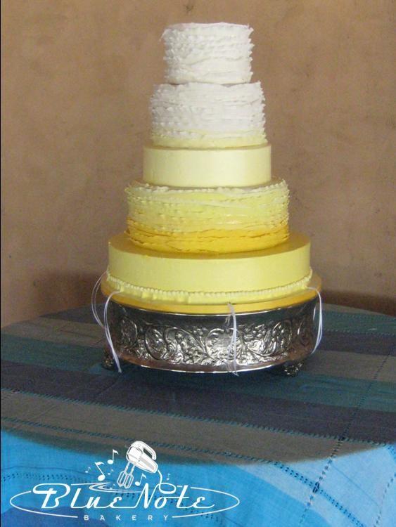 vintage, rustic, fade yellow ruffles wedding cake - wedding pulls ...
