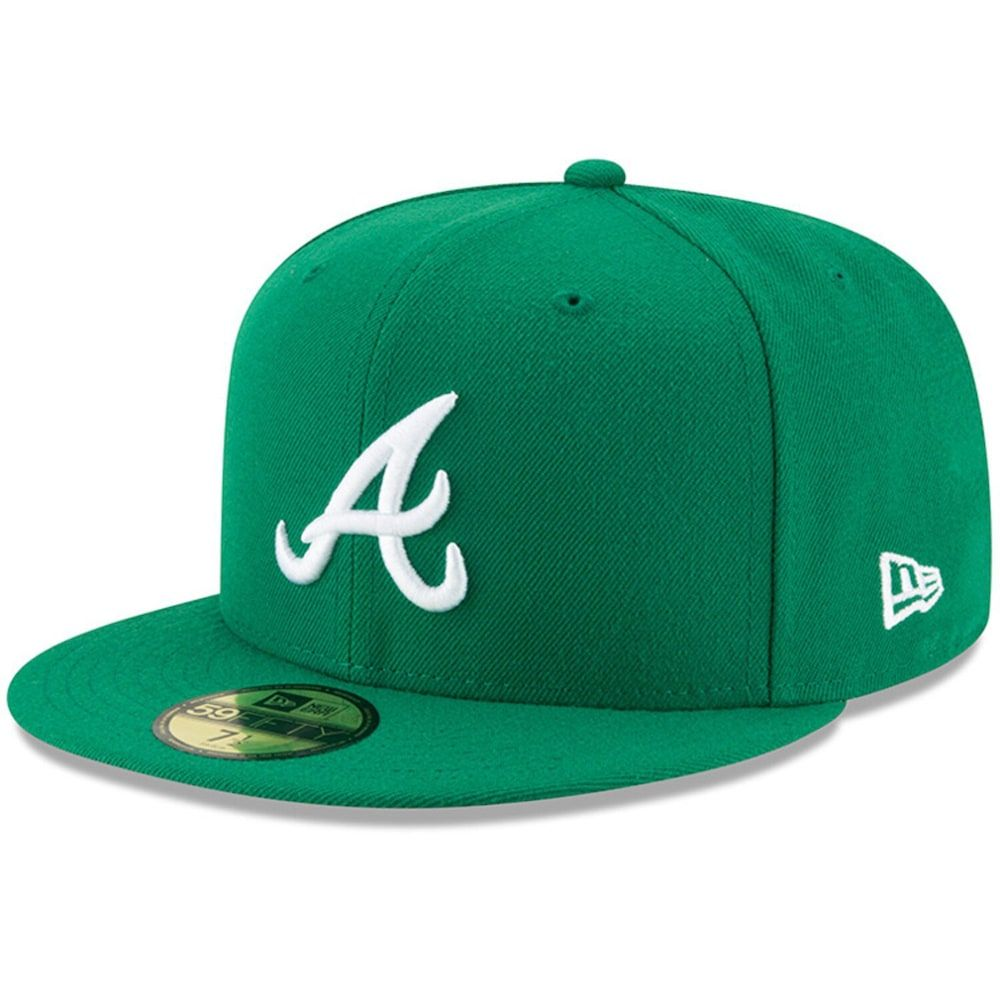 Men S New Era Green Atlanta Braves Fashion Color Basic 59fifty Fitted Hat Size 7 3 4 Green Fashion Atlanta Braves Fashion Colours
