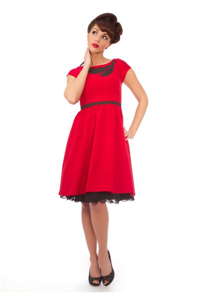 Sale Red Sweet Sway Polka Dot Bow Dress Unique Vintage Prom