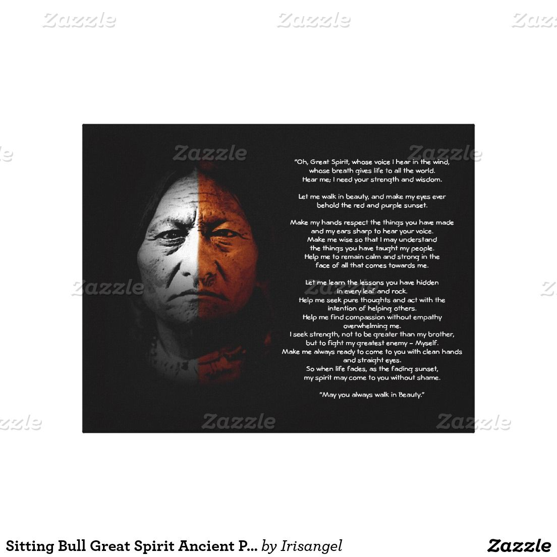 Sitting Bull Design.Prayer To The Great Spirit Sitting Bull Quote Canvas