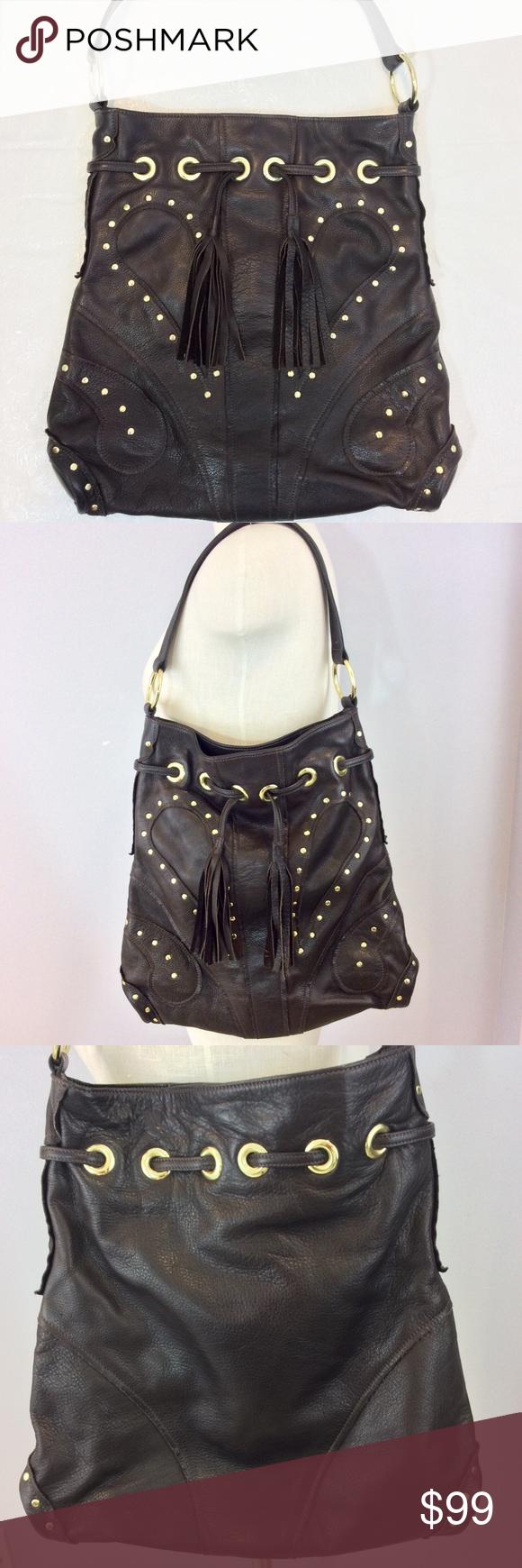 Le Bulga Brown Lamba Leather Hobo Boho Handbag Euc Grommet Studs And Tassel Details